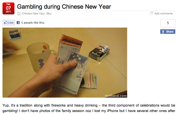 Gambling  during Chinese New Year by  sixthseal.com
