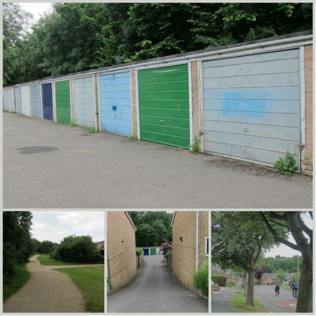 Open park and plain garage doors