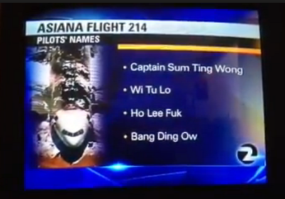 Bogus pilots' names in Asiana plane crash