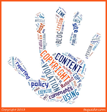 Copyright Violation Word Cloud. Text from Lorelle's post. Blog Exercises by Lorelle on WordPress.