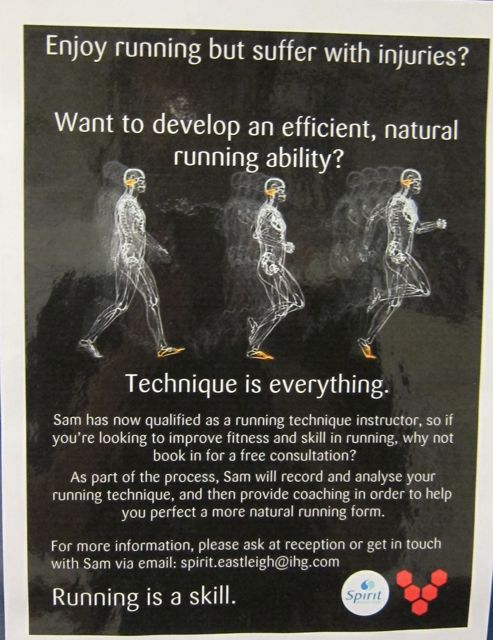 Suffer injury? A poster about improving skills and techniques, seen in my local health club.
