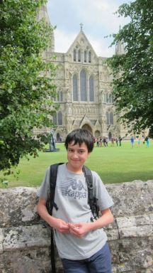 Outside Salisbury Cathedral -- Boys are superior in Chinese culture