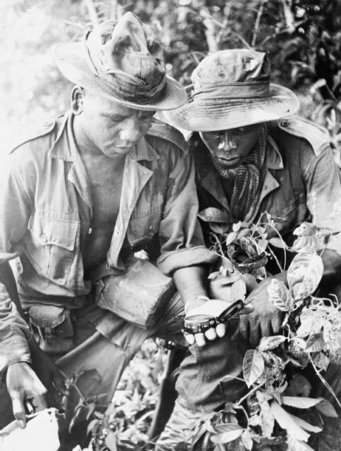 "KING'S African Rifles in the Federation Malaya. Two men of ""A"" Company, 3rd (Kenya) Battalion checking their compass bearing during a jungle patrol. C. 1951© IWM (K 13960)"