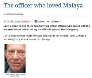 Dr Leon Comber, the British officer who loved Malaya.