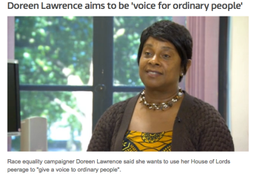 Doreen Lawrence, Baroness Lawrence of Clarendon.