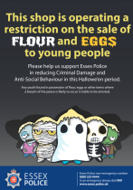 In possession of eggs and flour could potentially get youngsters arrested.