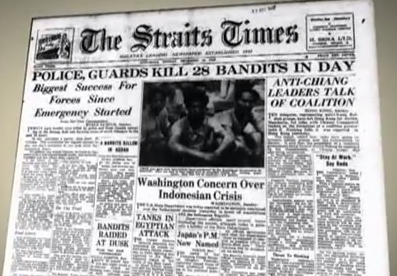 The Straits Times in December 1948: Police guards kill 28 bandits in day.