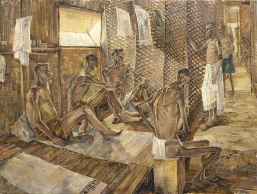 Orderly On His Rounds in X Ward, Changi Gaol, Singapore, With POW's Suffering from Starvation and Beri-Beri. Art. IWM ART LD 5618
