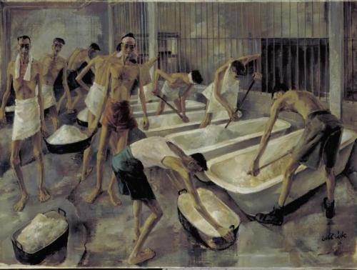 Leslie Cole image: Interior of a FEPOW cookhouse showing emaciated men stirring rice soaking in enamel baths, with other men carrying heavy iron pans filled with rice.