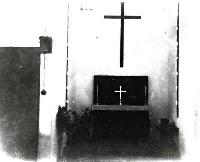 Image of St. George's Chapel at Changi POW camps, taken by Harry Stogden, maker of the Changi Cross, 1942. (Image Credit: Bernard Stogden)