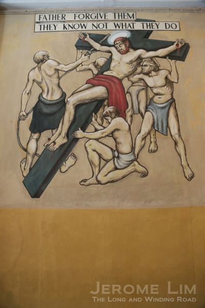 The Crucifixion - the third Changi Mural which was partly damaged by a doorway made in the wall. (Image: Jerome Lim)