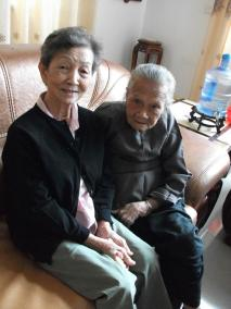 My mother with her 96-year-old sister in law: they are happy that the younger generation now enjoys a better life in China.