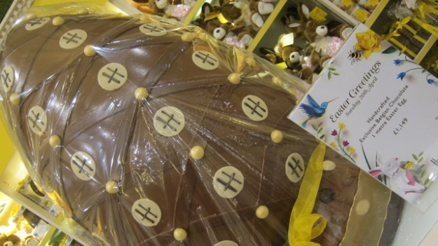Easter eggs at Harrods. This one metre Easter egg cost £1,149.