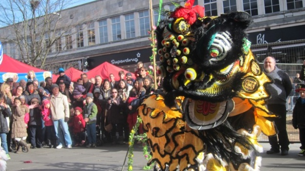 Lion Dance performance in Southampton, south of England, 2014.