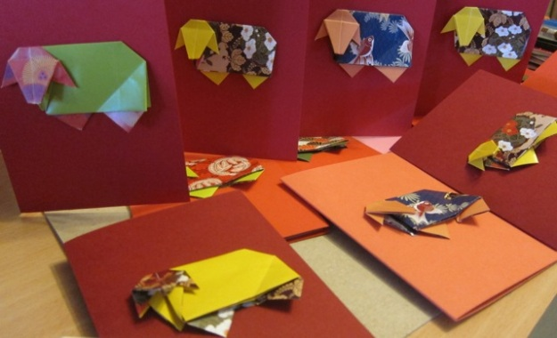Year of the Sheep 2015. I made these origami sheep and cards.